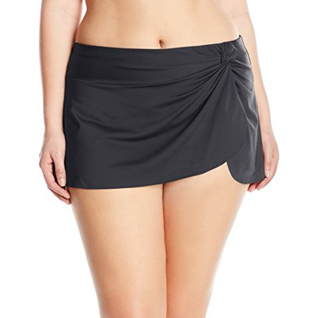 Anne Cole Women's Plus Size Sarong Skirted Bikini Swim Bottom, Black 2, 24W