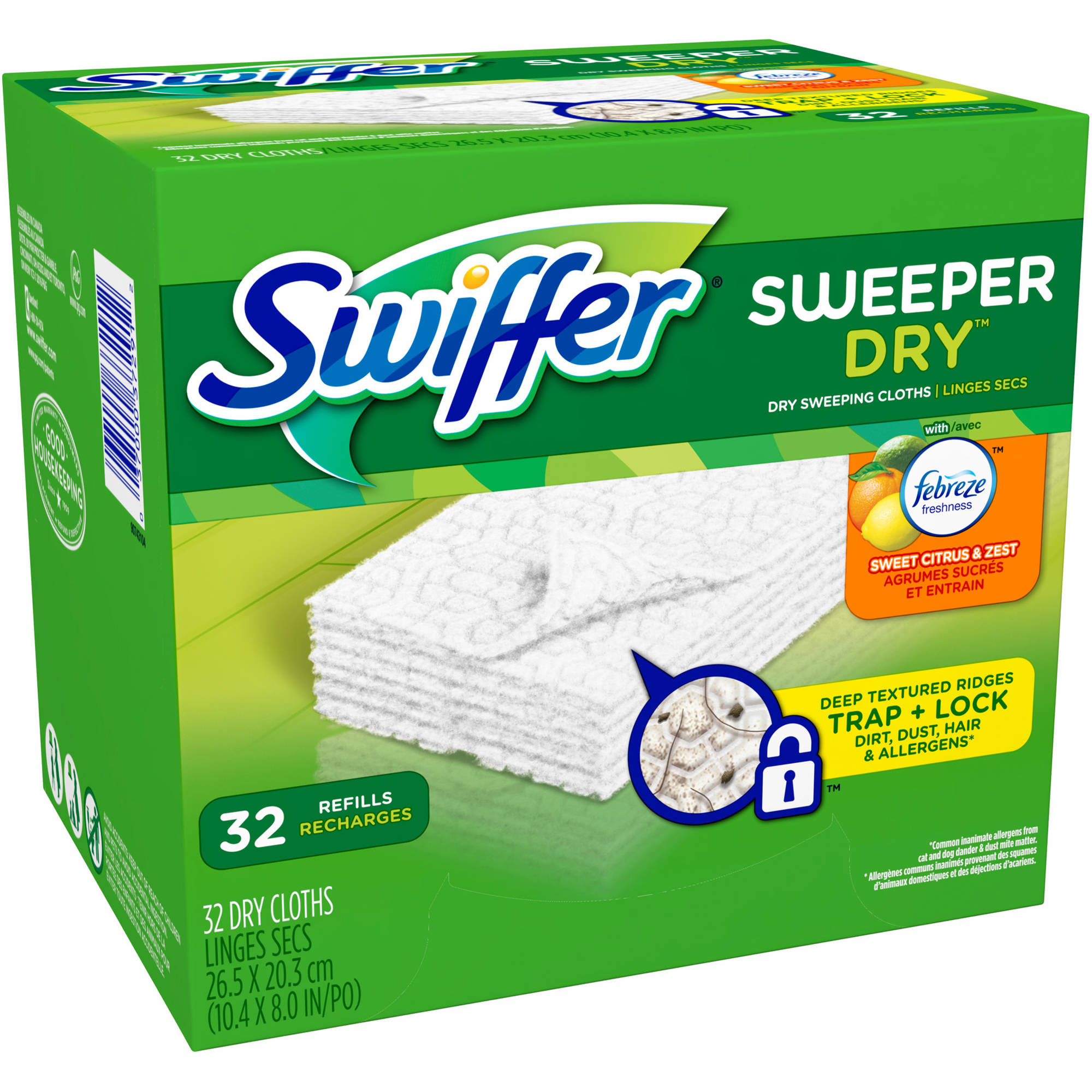 Swiffer Sweeper Vacuum Supply Dry Sweeping Refills, Citrus & Light, 32 ct