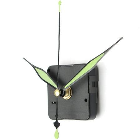 1Pcs Green Luminous Hands & Black Base DIY Quartz Clock Movement Spindle Repair Replacement Kit Home Room