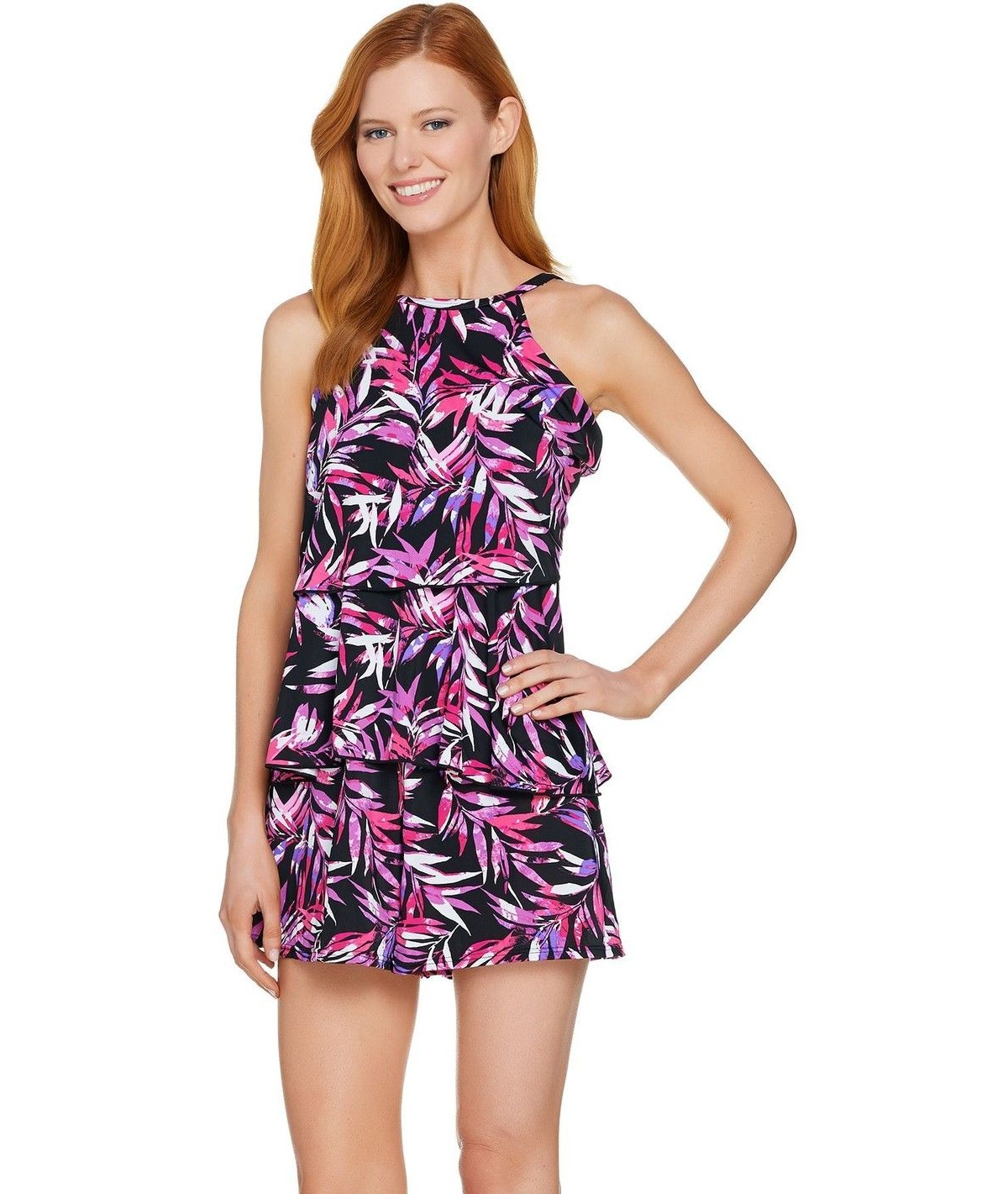 802e1d500295 Fit 4 U - Fit 4 U Hi Neck Double Tiered Romper Swimsuit A288587 -  Walmart.com