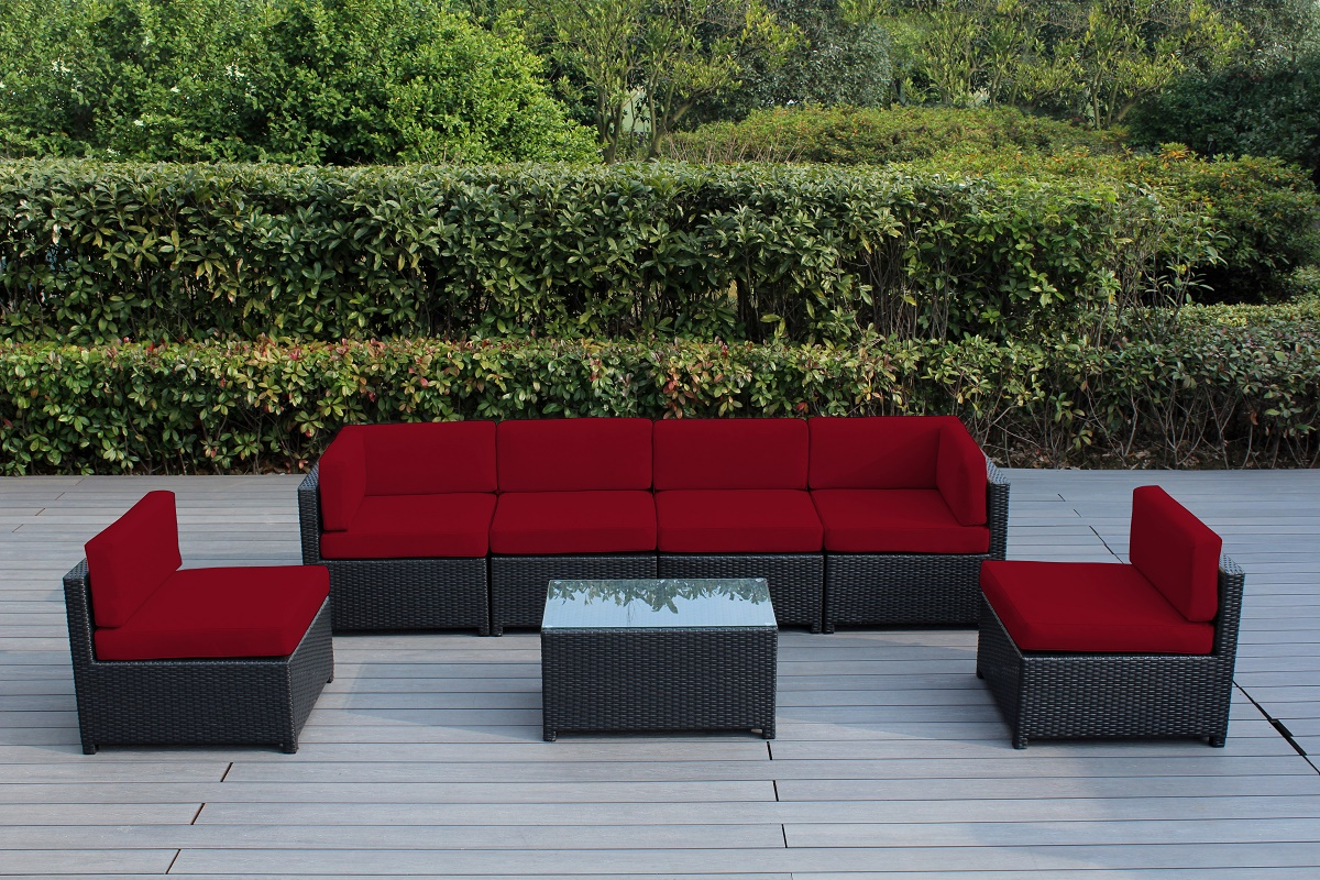 Ohana Mezzo 7-Piece Outdoor Wicker Patio Furniture Sectional Conversation Set by Ohana Depot