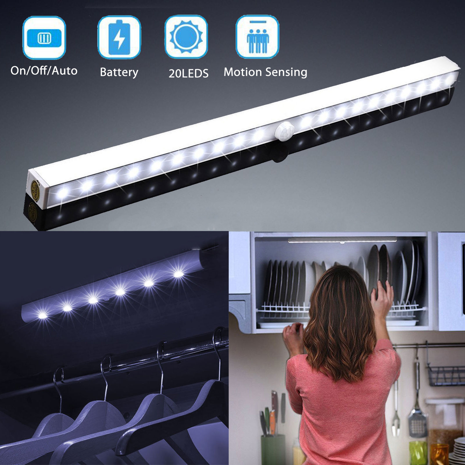 Motion Sensing Closet Lights, Stick On Anywhere Portable 20 LEDs Wireless  USB Rechargeable Cabinet