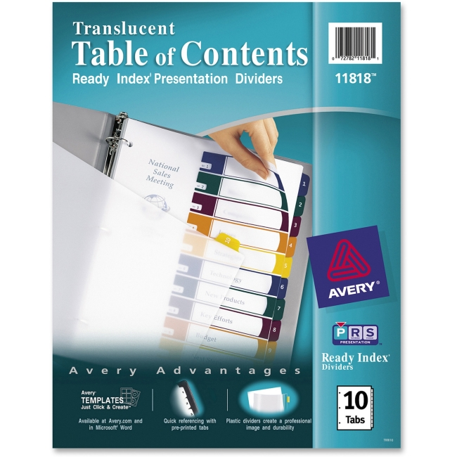 Avery Ready Index Customizable Table Of Contents