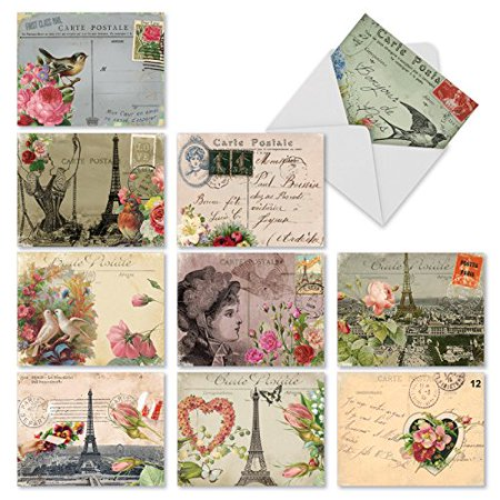 'M2355TYG PARISIAN POSTCARDS' 10 Assorted Thank You Notecards Featuring Vintage Collage Postcards with Images that Evoke Paris and the French Countryside with Envelopes by The Best Card Company - Vintage Halloween Post Cards