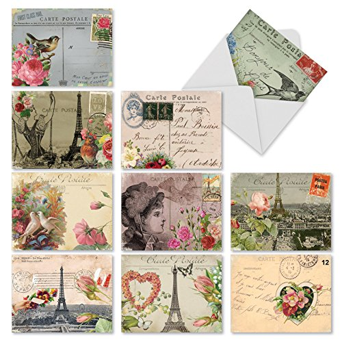 'M2355TYG PARISIAN POSTCARDS' 10 Assorted Thank You Notecards Featuring Vintage Collage Postcards with Images that Evoke Paris and the French Countryside with Envelopes by The Best Card Company