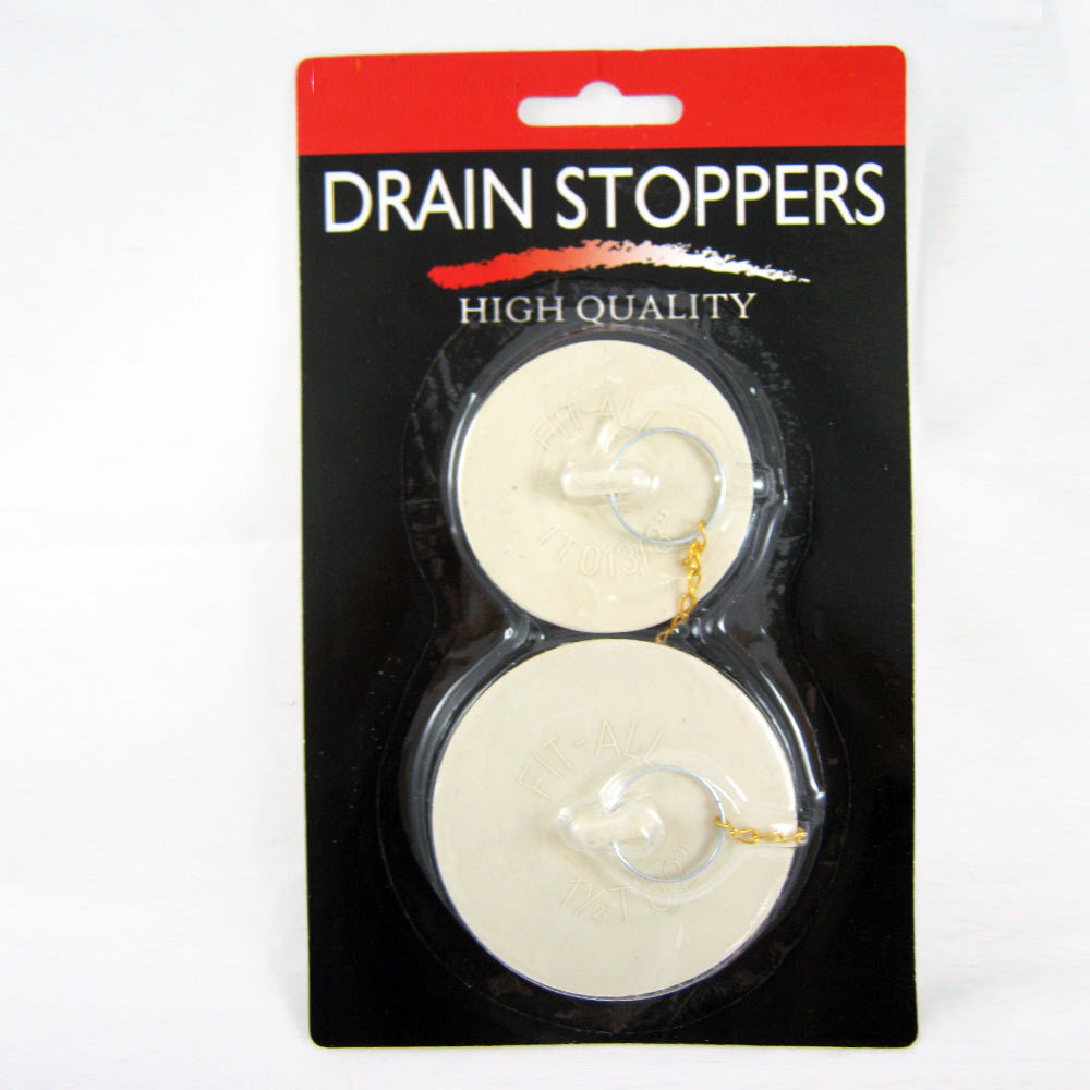 2 x Rubber Drain Stoppers Plugs Large Small Bathtub Bath Kitchen Sink Fit Most