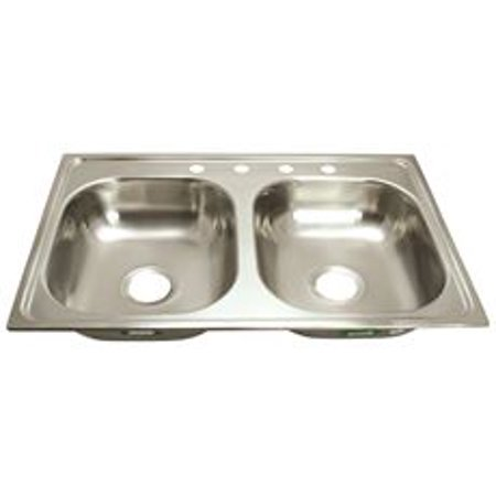 Proplus 4-Hole Double Bowl Kitchen Sink For Mobile Homes, 24-Gauge,  Stainless Steel, 33 X 19 X 6 In.