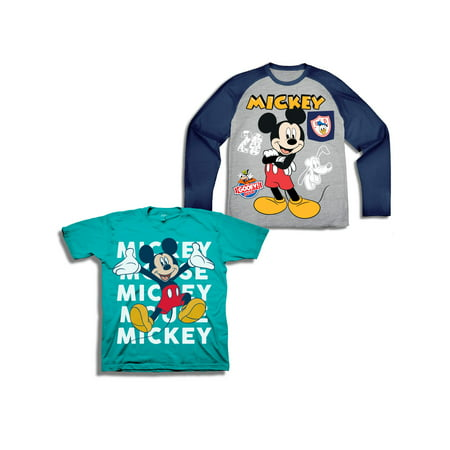 Mickey Mouse Long Sleeve Raglan T-shirt & Short Sleeve T-shirt, 2-pack (Toddler Boys)