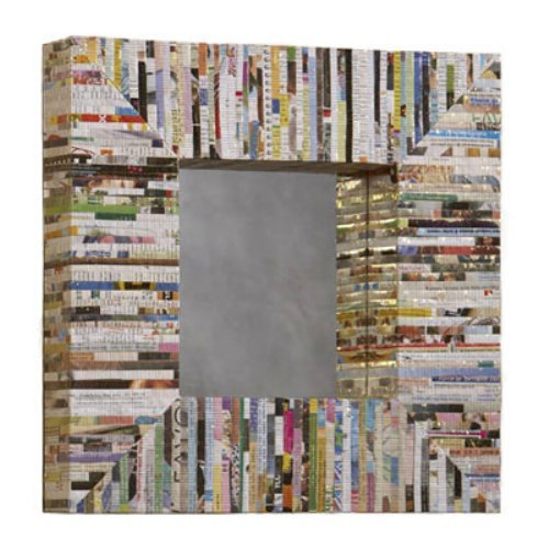 Recycled Magazine Square Wall Mirror - 16.5L x 16.5H in.