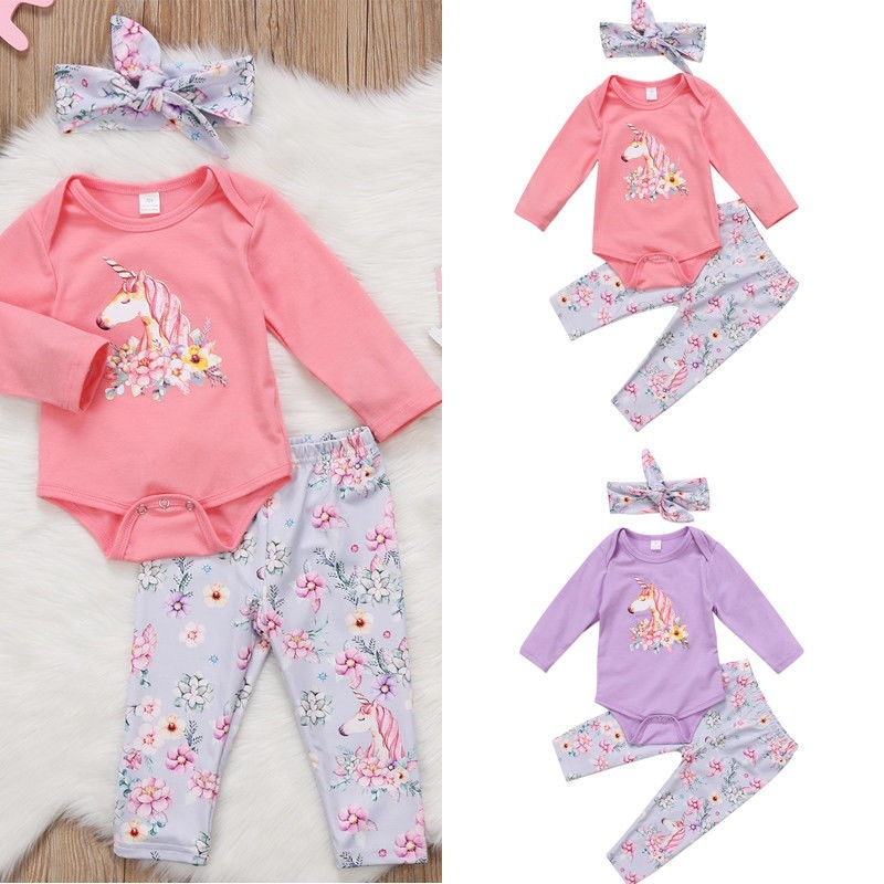Girls New Baby Girl 3 pcs Outfit Toddler Set Top+Pants+Headband LOCAL OZ Baby