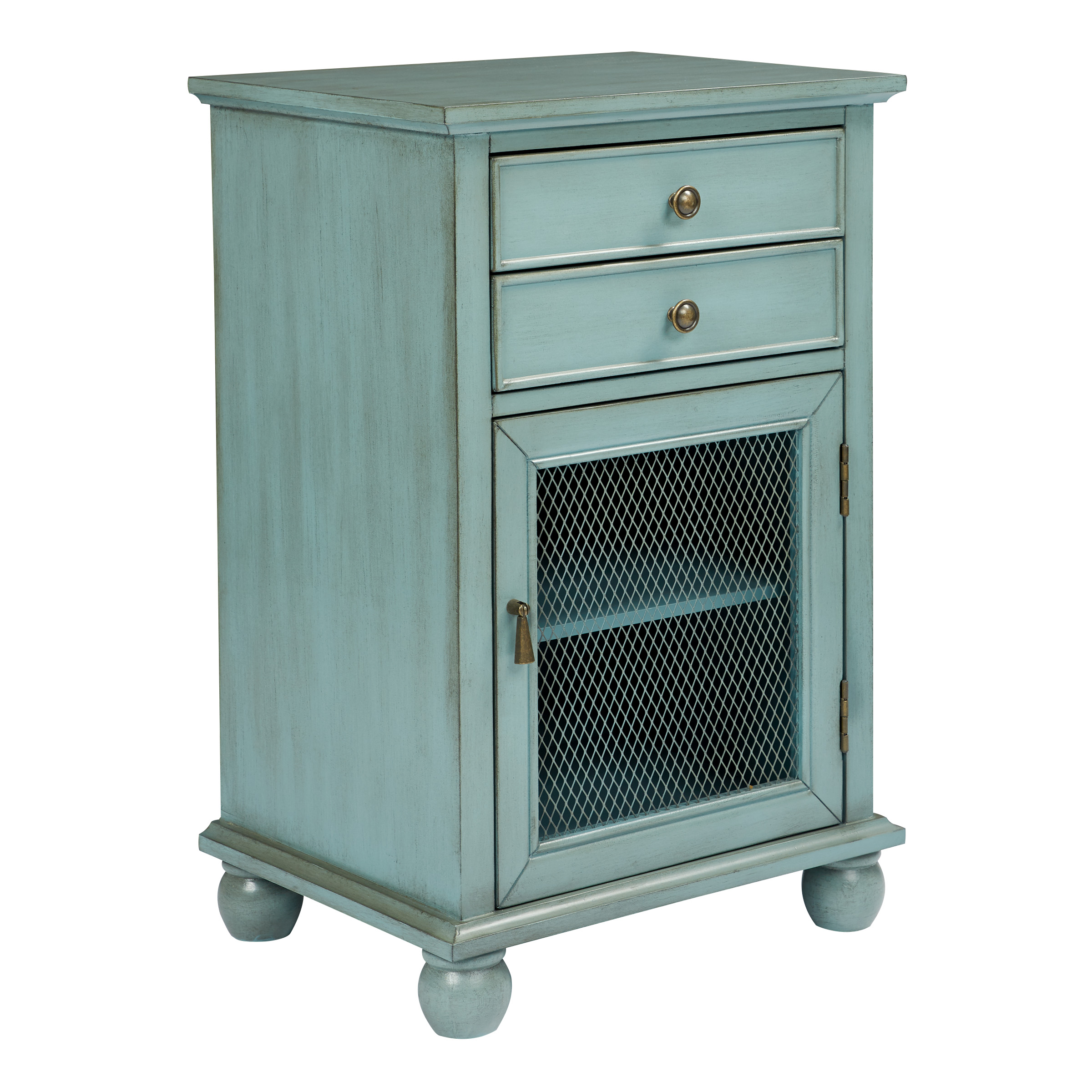 Inspired By Bassett Alton Storage Cabinet In Antique Steel Blue Fully Assembled