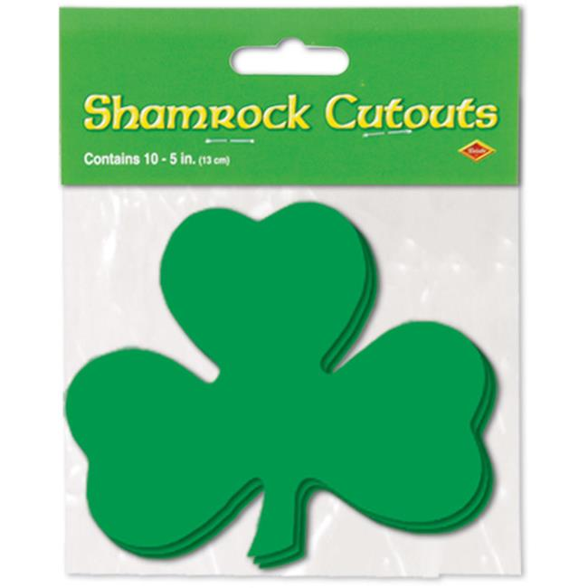 Bulk Buys Packaged Printed Shamrock Cutouts -  Case of 48
