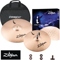 "Zildjian I Series Essentials Cymbal Pack - 14"" Hi Hats and 18"" Crash Ride with Cymbal Bag, Felts, and Sleeves"