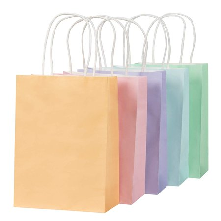 Pastel Gift Bags - 25-Pack Small Paper Bags with Handles, 5 Assorted Colors Orange, Pink, Purple, Blue, Green, Bulk Gift Wrapping Supplies, Easter Egg Hunts, Party Favors, 6.2 x 8.5 x 3.1 Inches