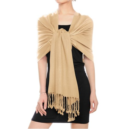 (Women's Fringed Hem Inclined Stripe Design Neck Warmer Scarf)