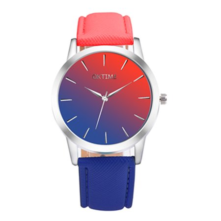OKTIME Lovers Wristwatch Concise Matching Color Quartz Watches Fashion Watch Red+blue (Lovers Quartz Wrist Watch)