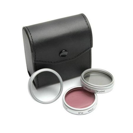 55mm 3-Piece Polarizer/UV/F-DL Filter Kit, Metal Rim with Leather Case, 15 Year Warranty, Super High Resolution By Sakar