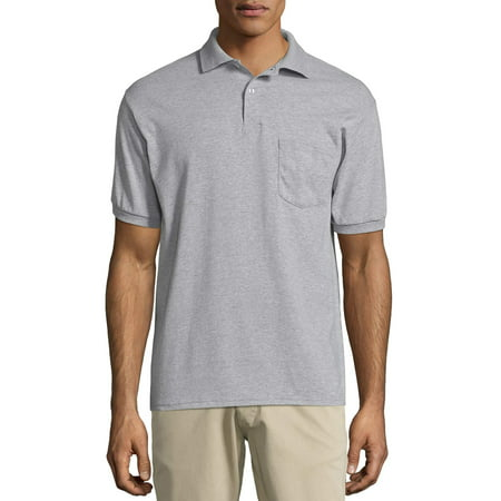 Hanes Men's Ecosmart Jersey Polo Shirt with Pocket Mens Game Day Polo