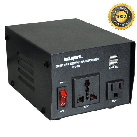 500w Voltage Converter - Instapark ITU-500 Voltage Converter: AC 110V / 220V 500W Step-up and Step-down AC Voltage Transformer with Maximum Load Capacity (MLC) - 500 Watts