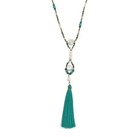 Beach Chic Green Tassel w/ Pearl & Blue Turquoise Beads Long -