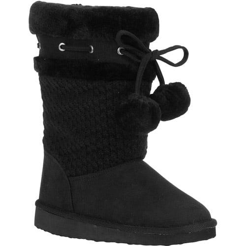 Girls Pom Pom Sweater Boots