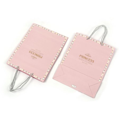 Unique Bargains Paper Square Shaped Birthday Party Gift Bags Storage Holder Pink 2pcs