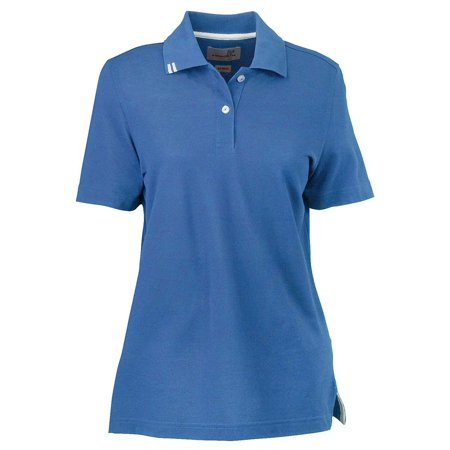 Ashworth Womens Contrast Stripes 2 Button Pique Polo Shirt, Absolute Blue, X-Large, Style, 1148