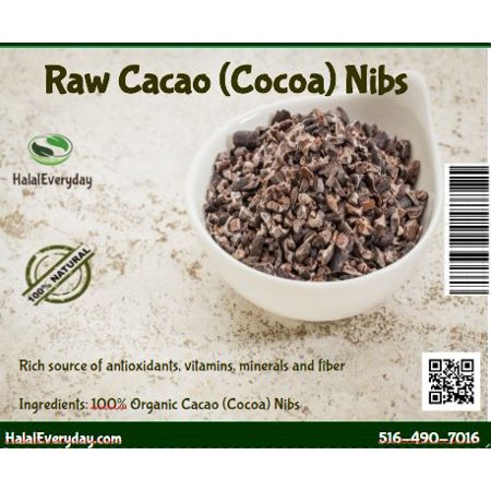 Raw Cacao (Cocoa) Nibs from Ecuador - 100% Pure, Raw and All Natural. Non-GMO, Gluten-Free, Vegan and Halal – 1 lb. – by HalalEveryday