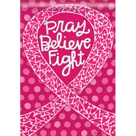 Think Pink Breast Cancer Garden Flag Awareness Pray Believe Fight 12.5