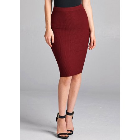 Womens Juniors Casual Careerwear Wer to Work Solid Burgundy Ribbed Knit Bodycon Pencil Knee Length Midi Skirt 41010V