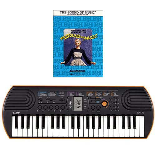 Casio SA-76 44 Key Mini Keyboard Bundle Includes Bonus The Sound of Music Beginning Piano Solo Songbook