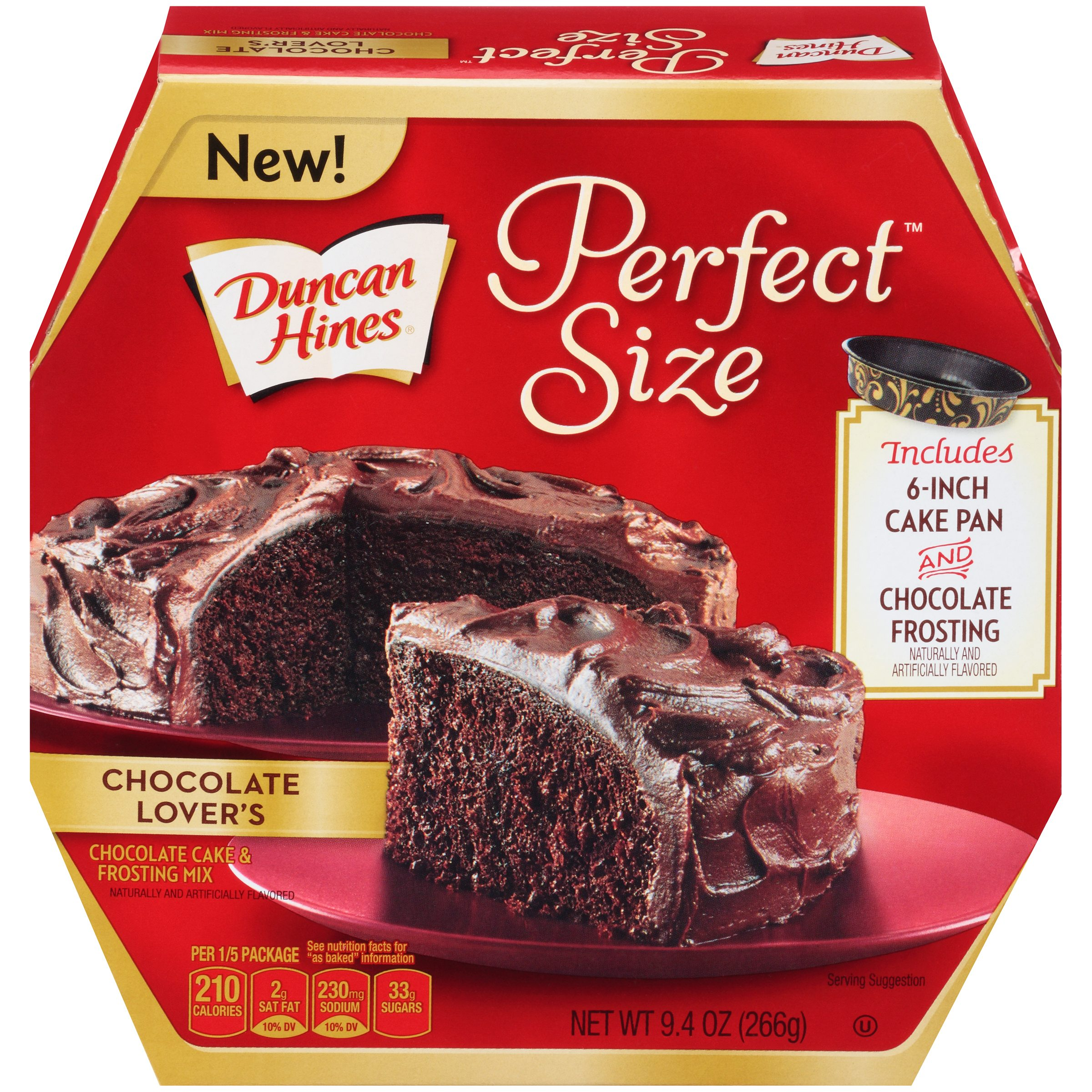 (2 Pack) Duncan Hines Perfect Size Cake Mix Chocolate Lover's, 9.4 OZ
