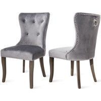 Clearance!Upholstered Dining Chairs, Set of 2 Tufted Dining Chairs With Nailhead Trim and Back Ring Pull, Mid-Century Modern Armless Accent Chair with Solid Wood Legs Living Home Furniture, L2913