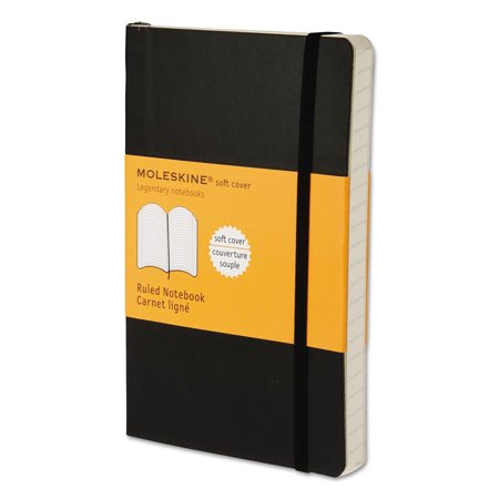 Moleskine Classic Softcover Notebook, Ruled, 5 1/2 x 3 1/2, Black Cover, 192 Sheets -HBGMS710