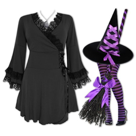 Plus and Regular Size Women's Halloween Witch Costume with Victoria Top, Hat and Tights (Womens Witch Hat)