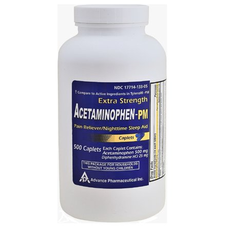 Acetaminophen PM Generic for Tylenol PM 500 Caplets Pain Reliever & Nighttime Sleep Aid