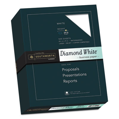 25% Cotton Diamond White Business Paper, 24lb, 95 Bright, 8 1/2 x 11, 500 Sheets, Sold as 1 Box