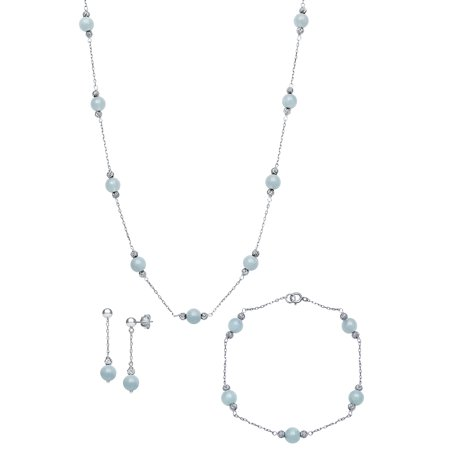 Natural Milky Aquamarine Station Tin Cup Link Necklace,Bracelet, and Drop Earring Jewelry Set