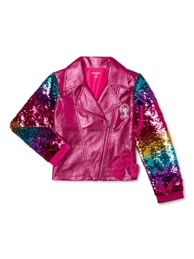 Jojo Siwa Girls Sequin Sleeve Moto Jacket, Sizes 4-16
