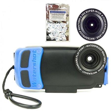 Kit Flat Lens (Watershot PRO Underwater Smartphone Housing Kit for iPhone 6/6s Plus (Black/Snorkel Blue) (flat + wide angle lens) w/ Moisture Absorbers)