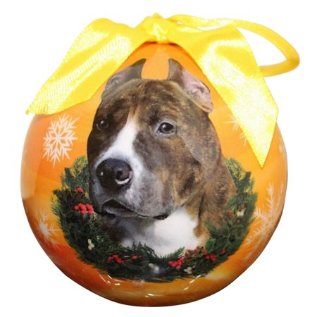 Furry Friend Christmas Ball Ornament Topped With Bow, Brown Pit Bull Christmas Bow Ball Ornament