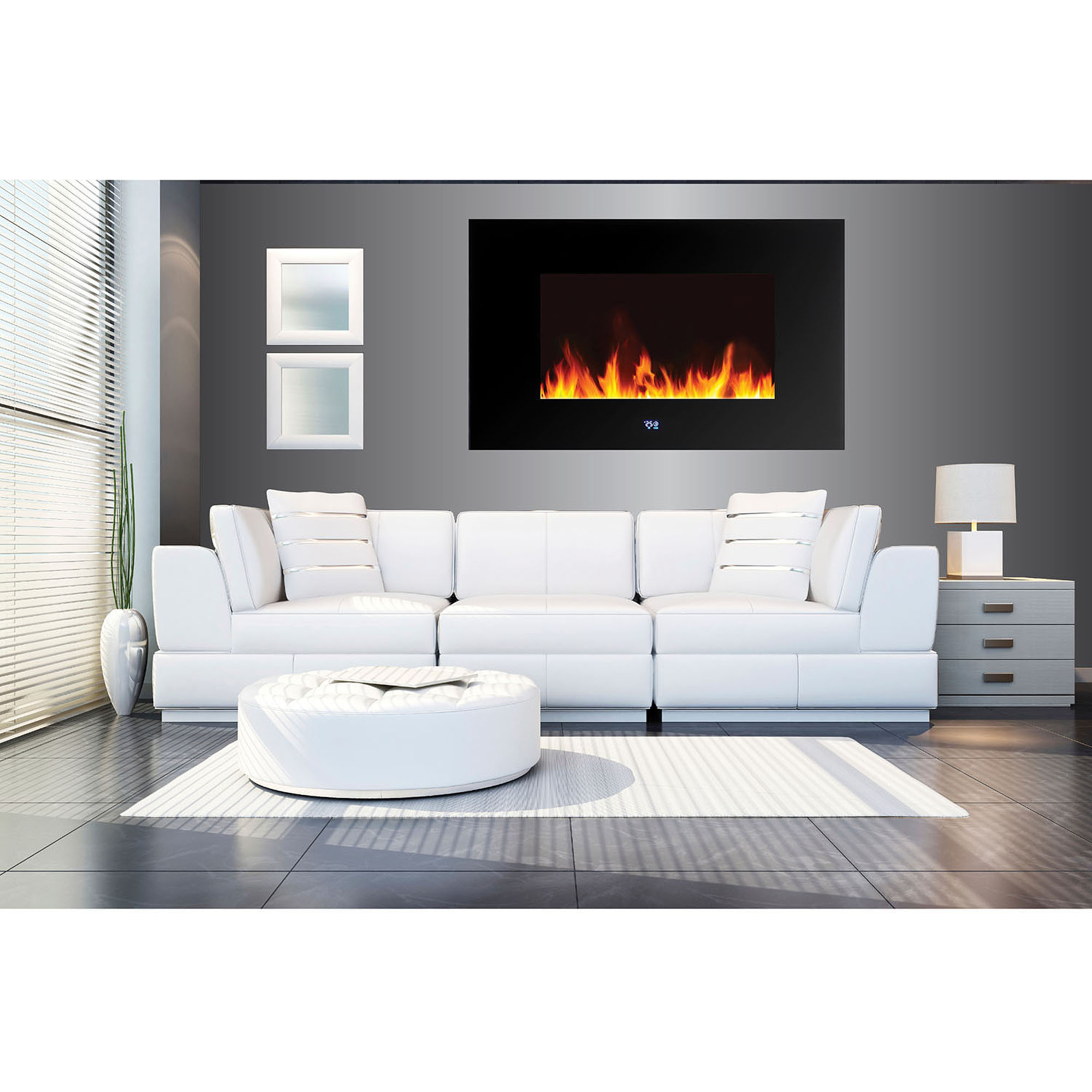 "Wall Hanging Fireplace twin-star international 34"" wall-mounted infrared quartz fireplace"
