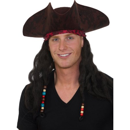 Adults Deluxe Caribbean Pirate Hat With Dreadlock Hair Costume Accessory - Pirates Hats