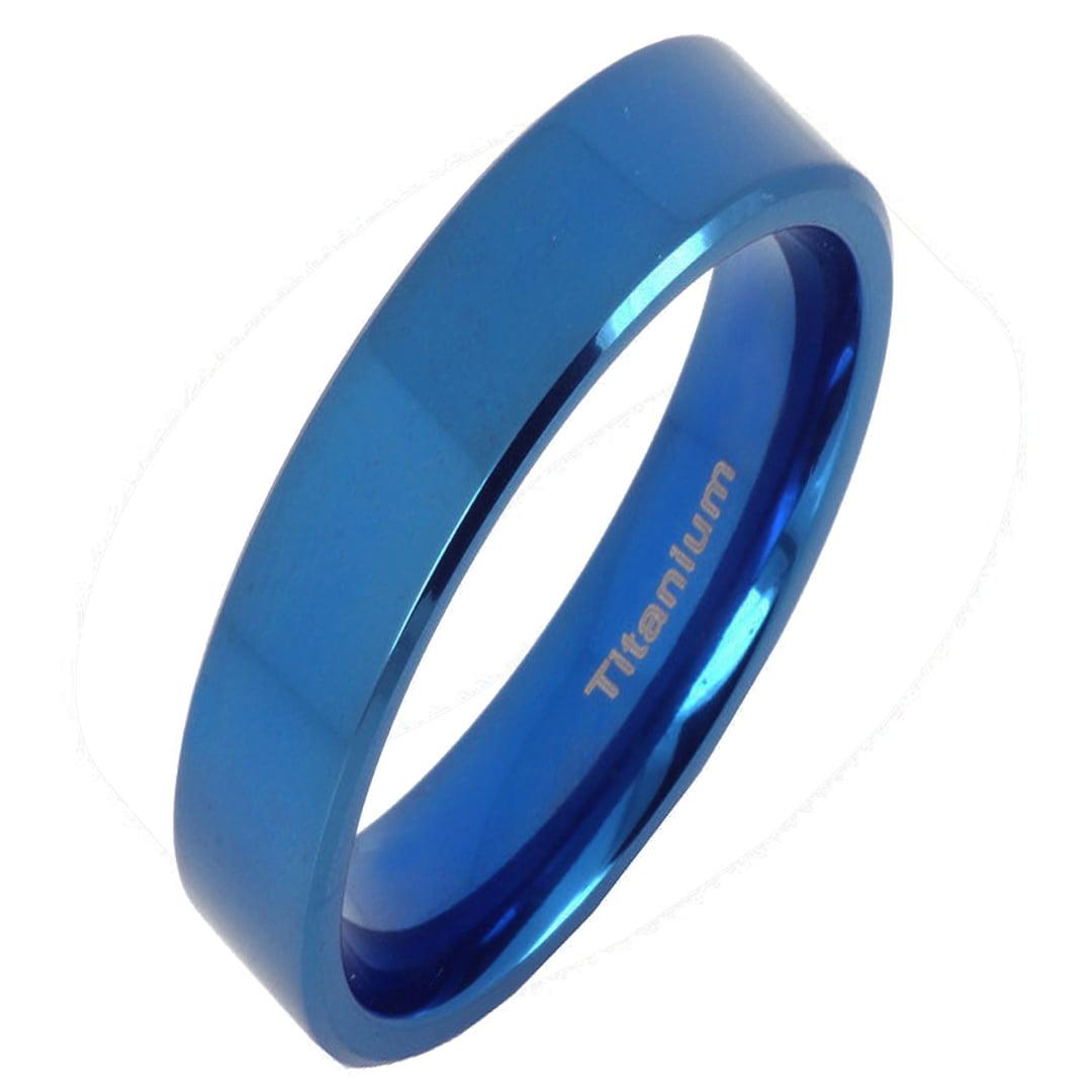 GEMINI JEWELRY His /& Hers Plain Flat Comfort Fit BlueTitanium Wedding Bands Rings Set Width 6mm /& 4mm Men Ring Size 10 11 Women Ring Size