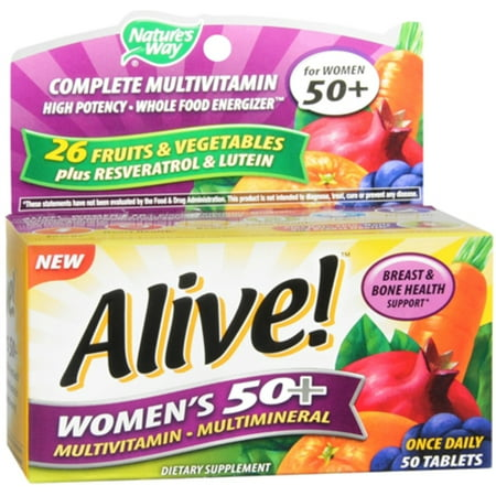 Alive  Natures Way Once Daily Womens 50  High Potency Multivitamin 50 Ea  Pack Of 2