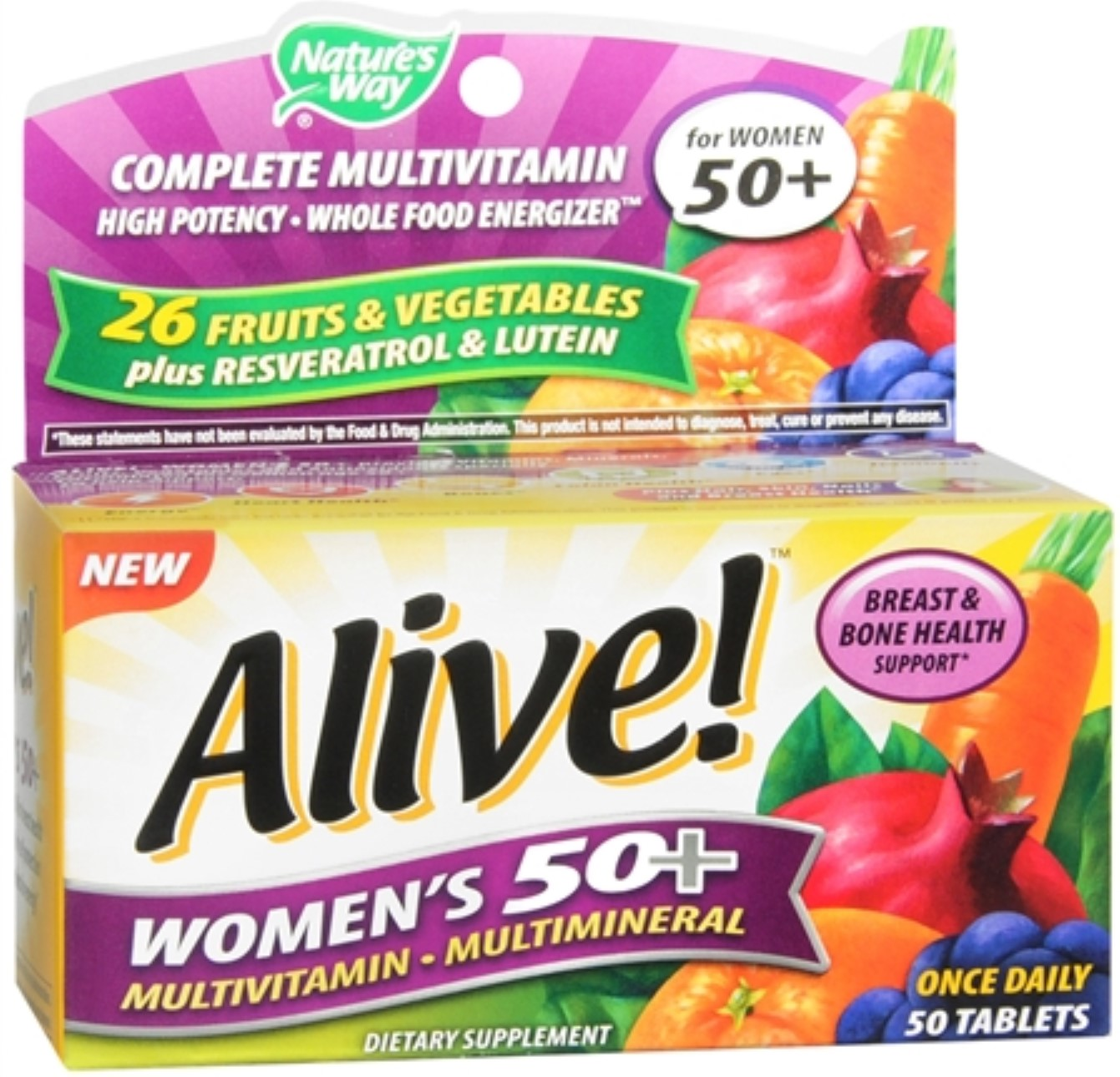 Alive! Nature's Way Once Daily Women's 50+ High Potency Multivitamin 50 ea (Pack of 4)