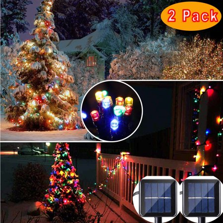2pack qedertek solar christmas lights 39ft 100 led solar led lights fairy lighting for homelawngardenweddingpatiopartyand holiday decorations