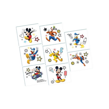 Mickey Mouse Roadster On the Go Tattoo 8 pack Birthday Party Supplies - Mickey Mouse 2nd Birthday
