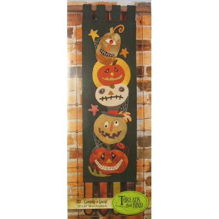Gourdy's Gang 183 Wool Applique Pattern Halloween Pumpkin Jack O Lantern Threads that Bind