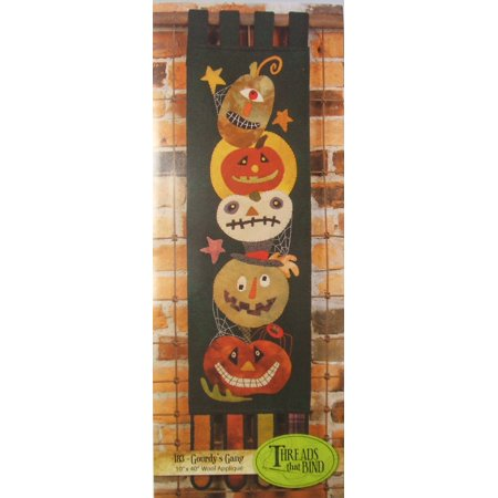 Gourdy's Gang 183 Wool Applique Pattern Halloween Pumpkin Jack O Lantern Threads that Bind](Pumpkin Pattern)
